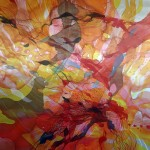 Morning Whisper 150x150cm Painted silk canvases & hand stitching