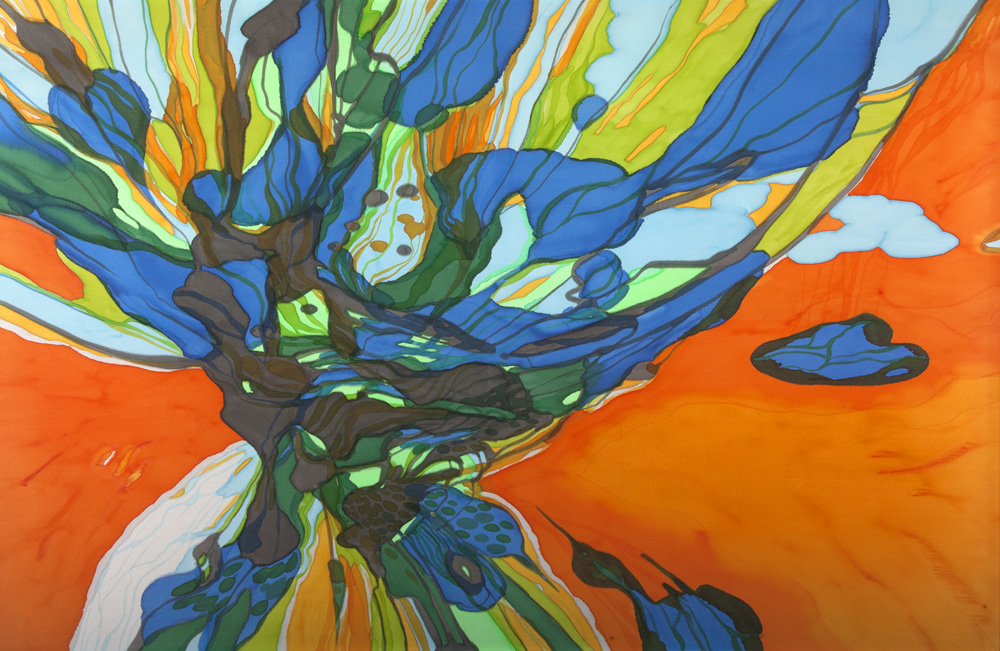 SOLD : Fly, 150x100, Painting on Silk with hand embroidery 2013