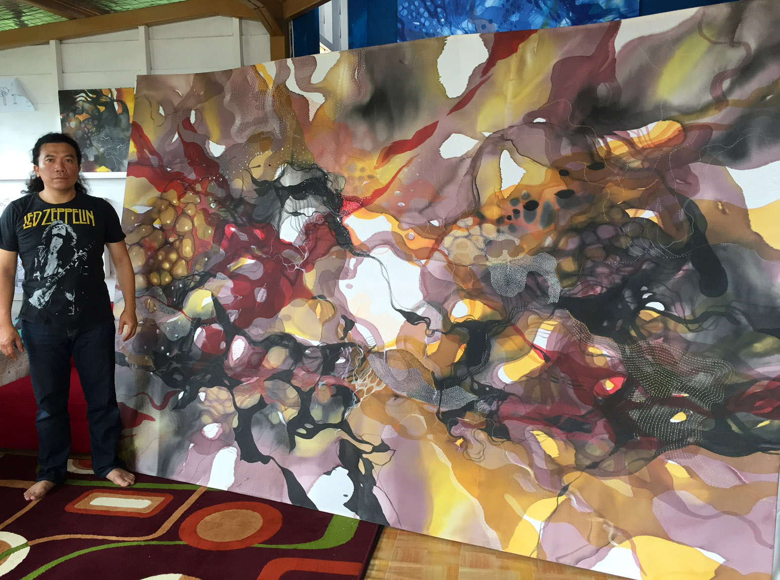 Journey of Happiness '300x200cm Painted silky canvases & hand stitching